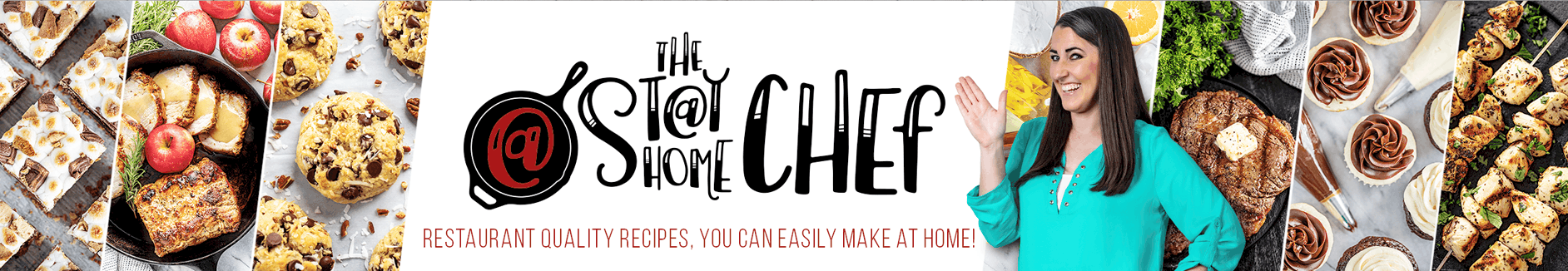The Stay At Home Chef Main Logo in the center of banner image with a clipped image to the right of Rachel Farnsworth wearing a turquoise blouse waiving with angled images of food on either side of the central logo.