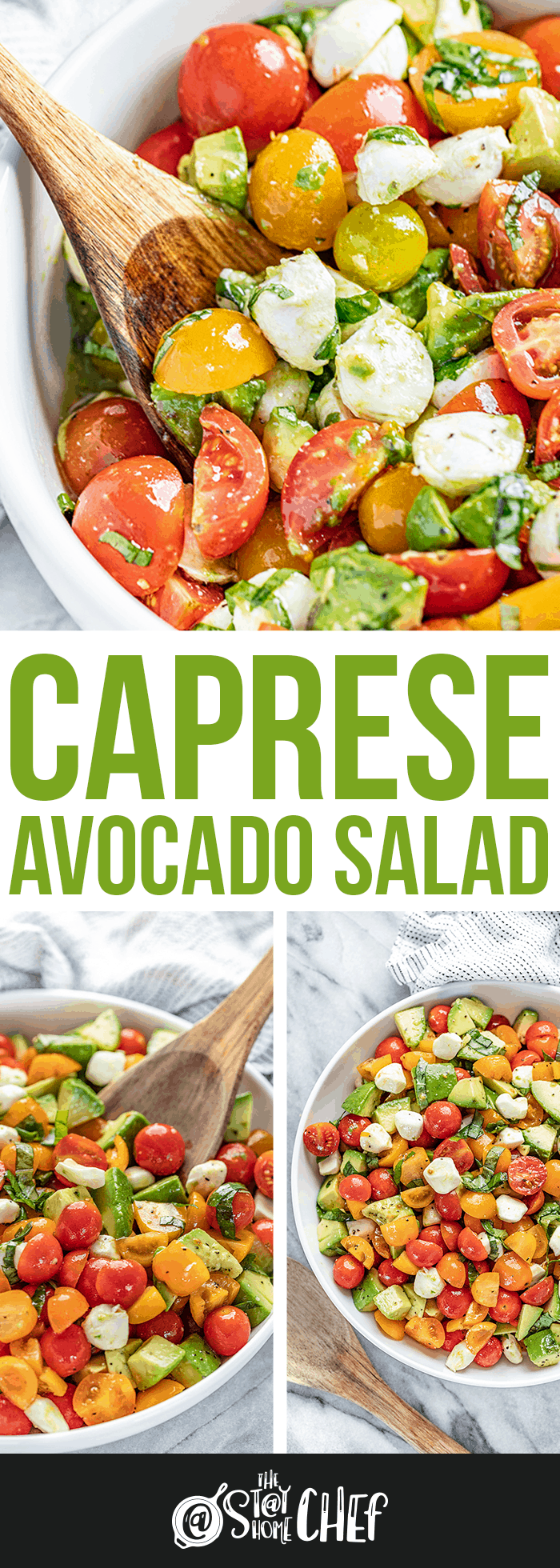 Overhead view of caprese avocado salad