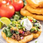 a loaded navajo taco on indian fry bread