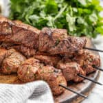 Marinated beef kabobs with red pepper flakes and cilantro
