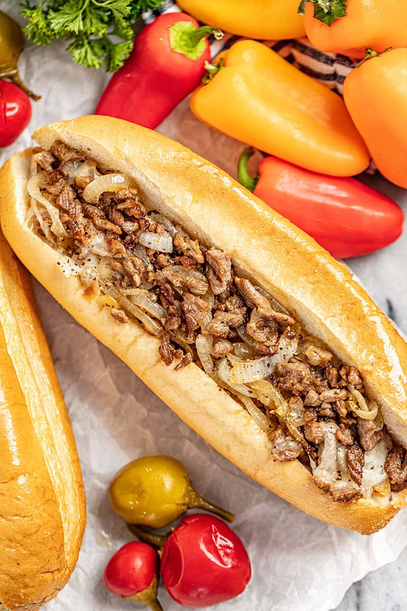overhead view of a Philly cheesesteak sandwich