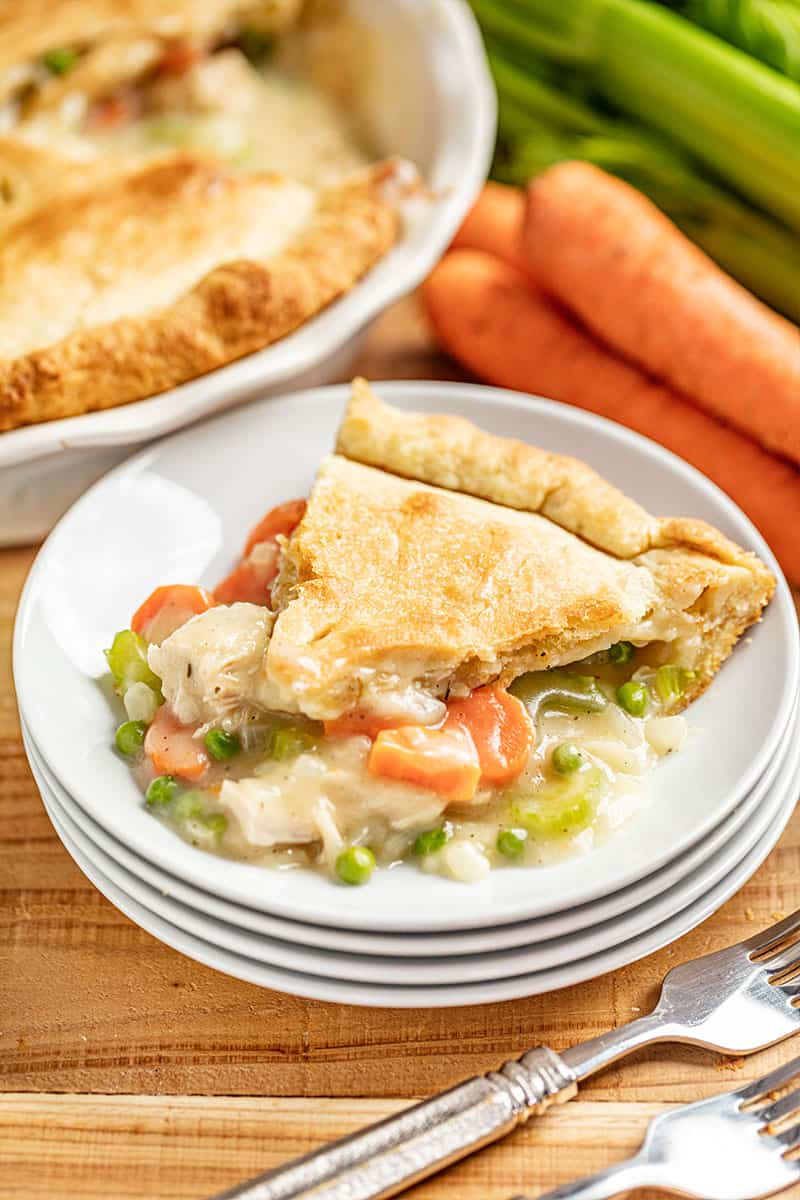 A slice of Chicken Pot Pie on a plate.