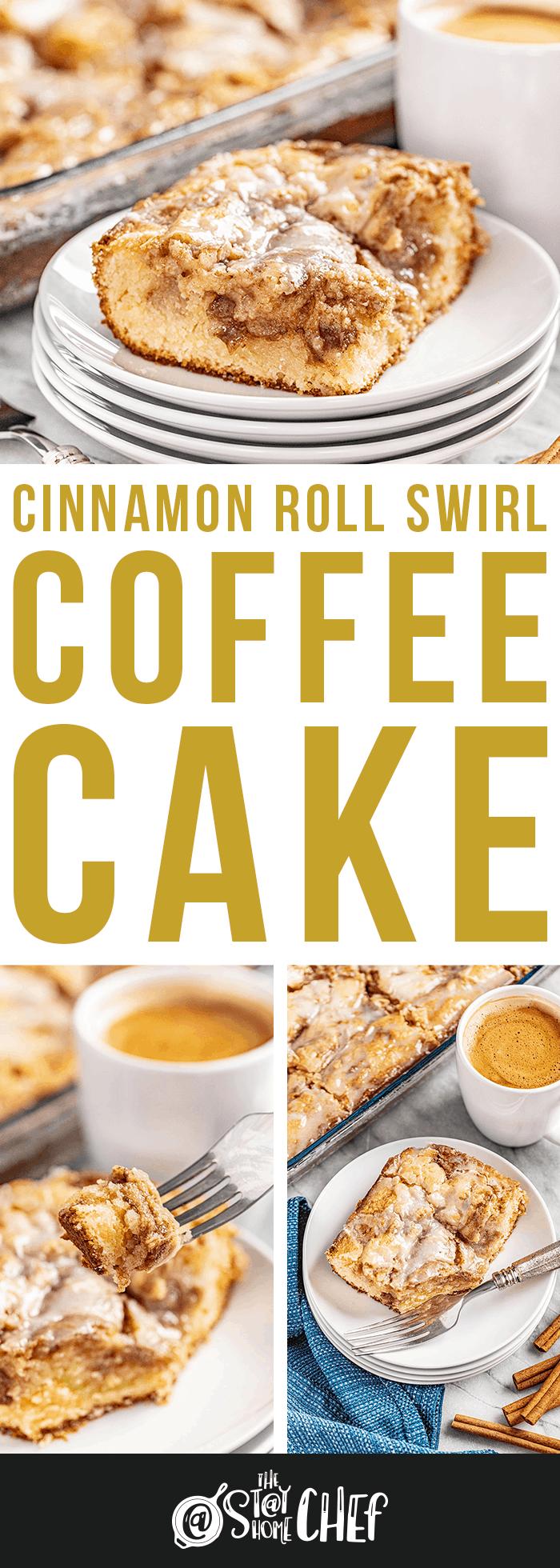 Cinnamon swirl coffee cake served on a plate.