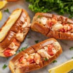 overhead view of 3 lobster rolls.