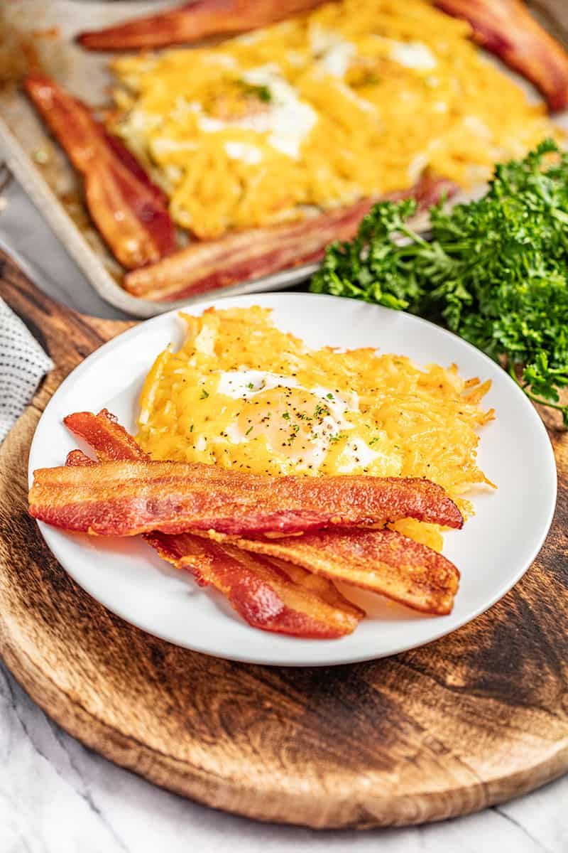 One pan breakfast baked served on a white plate.