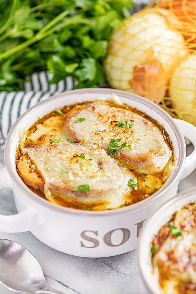 French onion soup in a soup bowl.