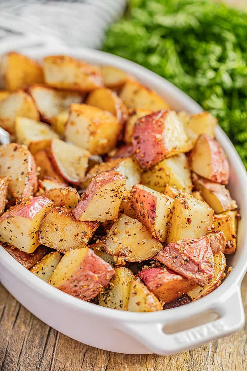 Roasted potatoes in a baking dish.