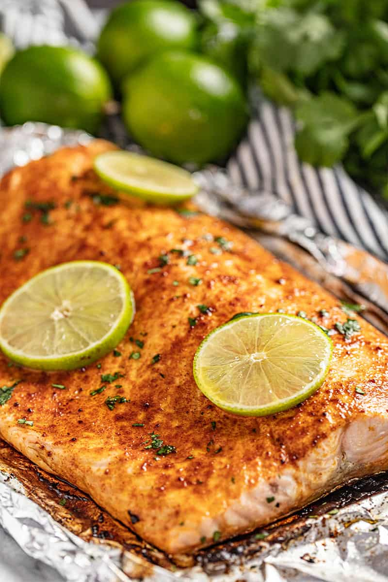 Chili lime salmon in foil.