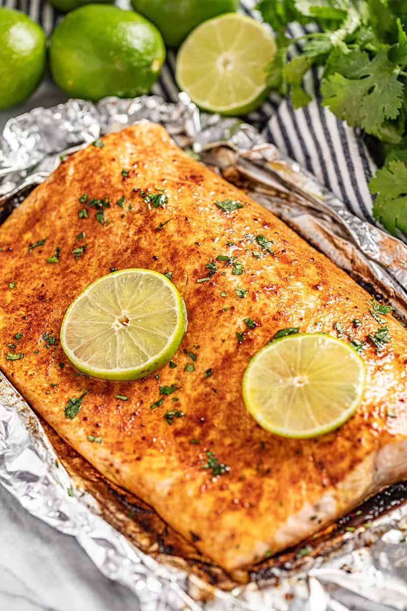 A filet of chili lime salmon.