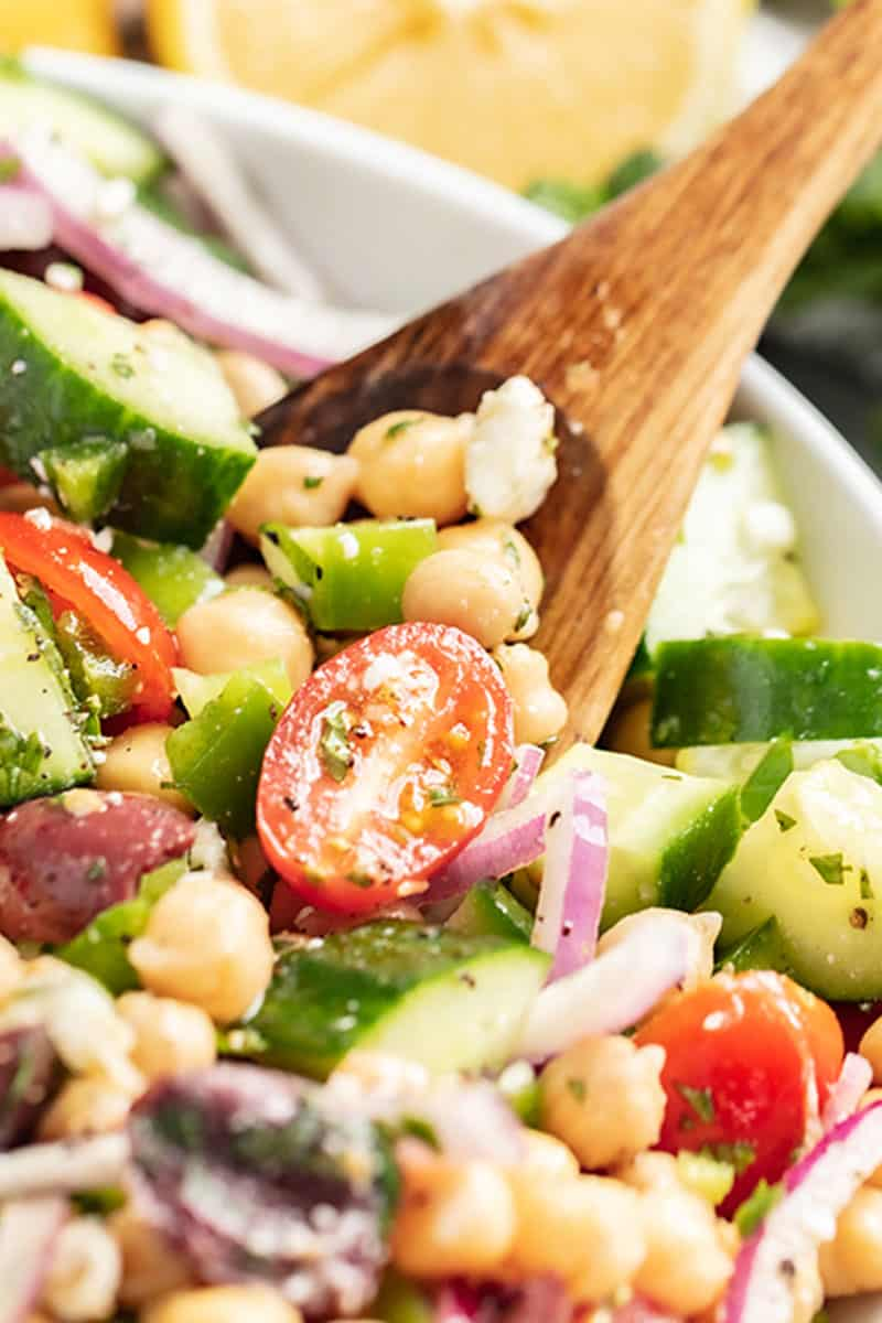 a bowl of mediterranean chickpea salad.