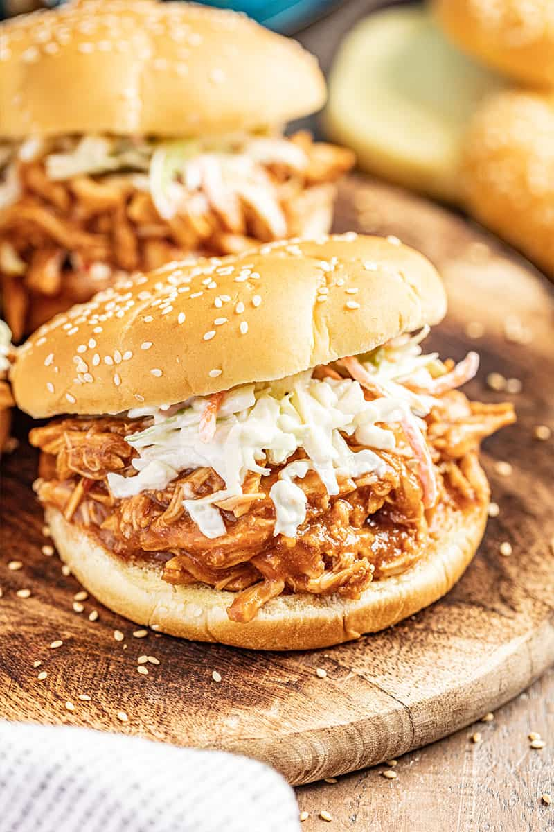 BBQ chicken sandwich on hamburger buns.