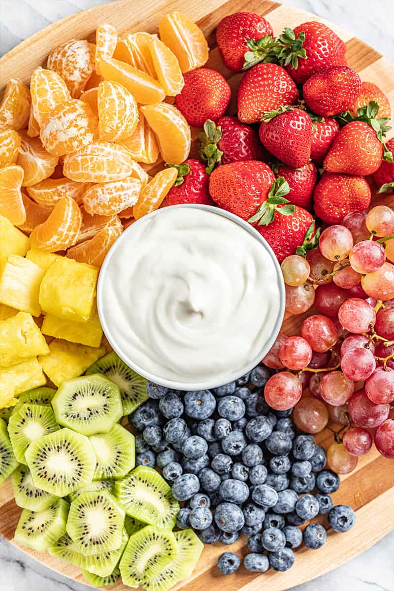 Overhead view of marshmallow fruit dip.