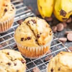 banana chocolate chip muffins on a cooling rack.