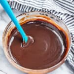A bowl of chocolate ganache with a spatula resting in it.