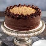 A German chocolate cake on a cake stand.
