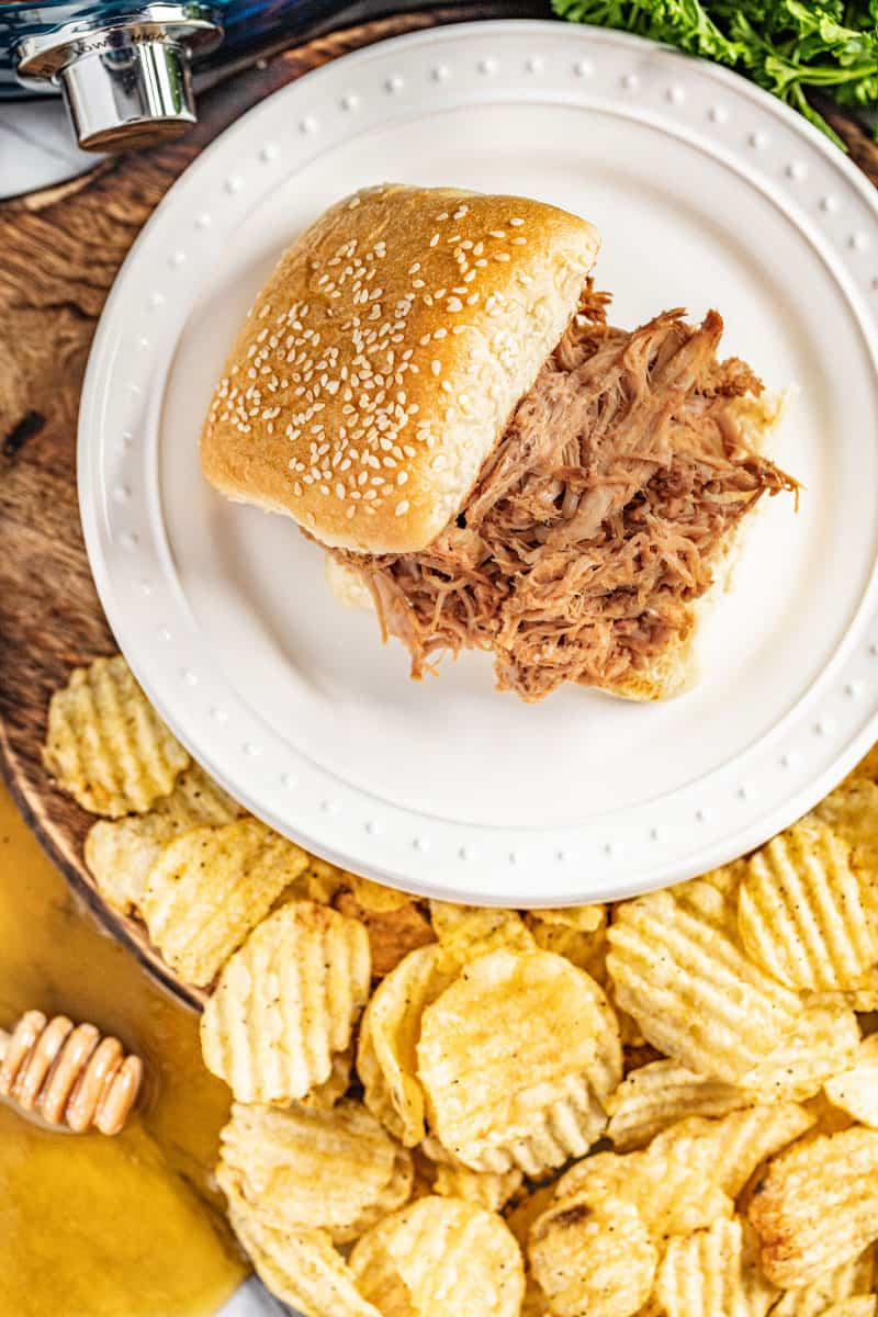 Overhead view of a pulled pork sandwich.