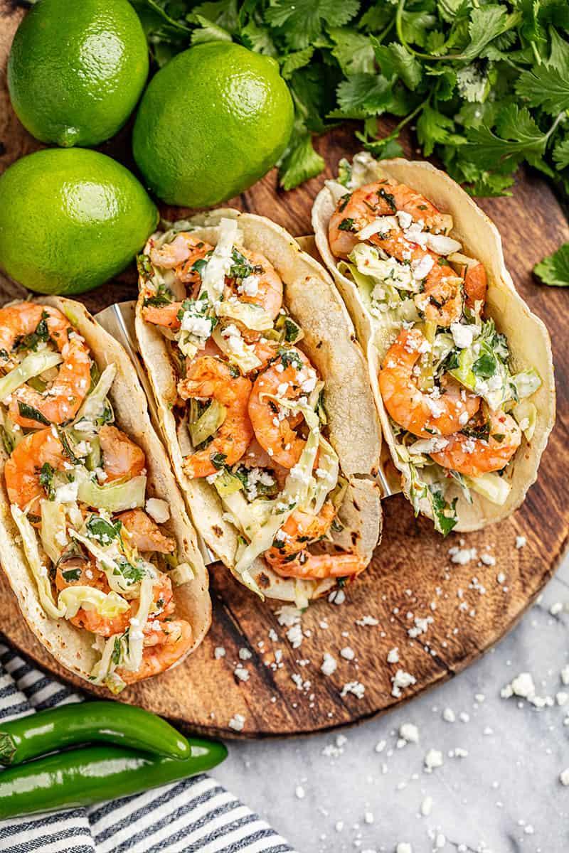 Koriander limoen garnalen taco's.