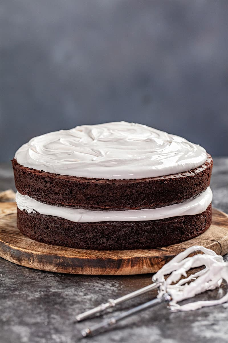 A layered chocolate cake with 7 minute frosting.