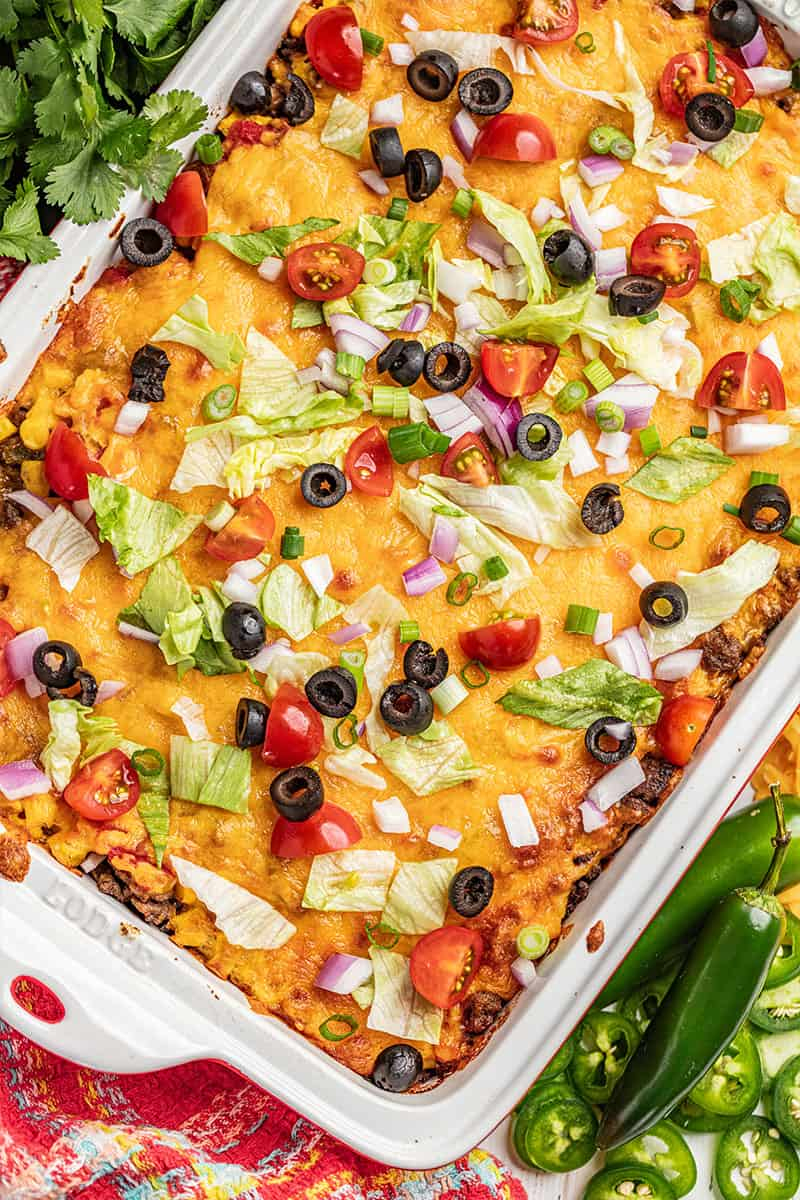 Overhead view of tasty taco casserole in a baking dish.