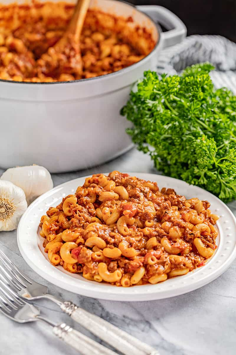 A dinner plate filled with old fashioned goulash.