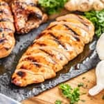 Sliced juicy chicken breast.