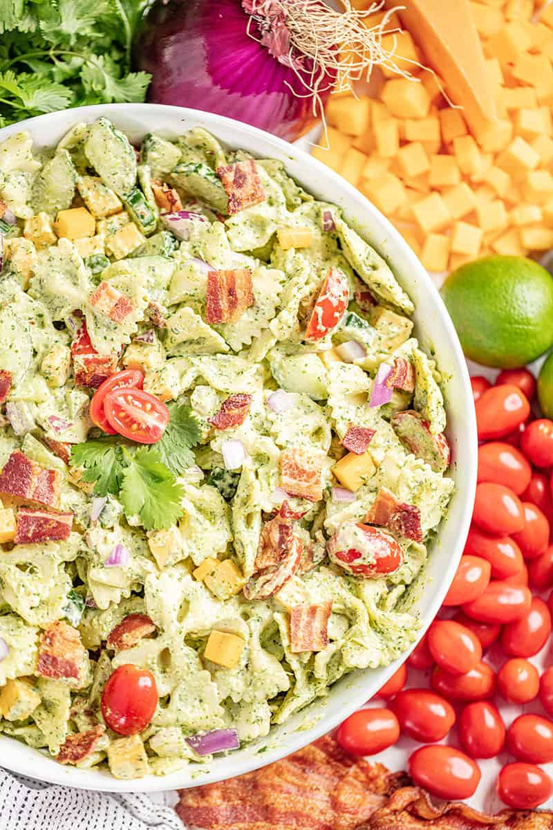 Overhead view of cilantro ranch pasta salad.