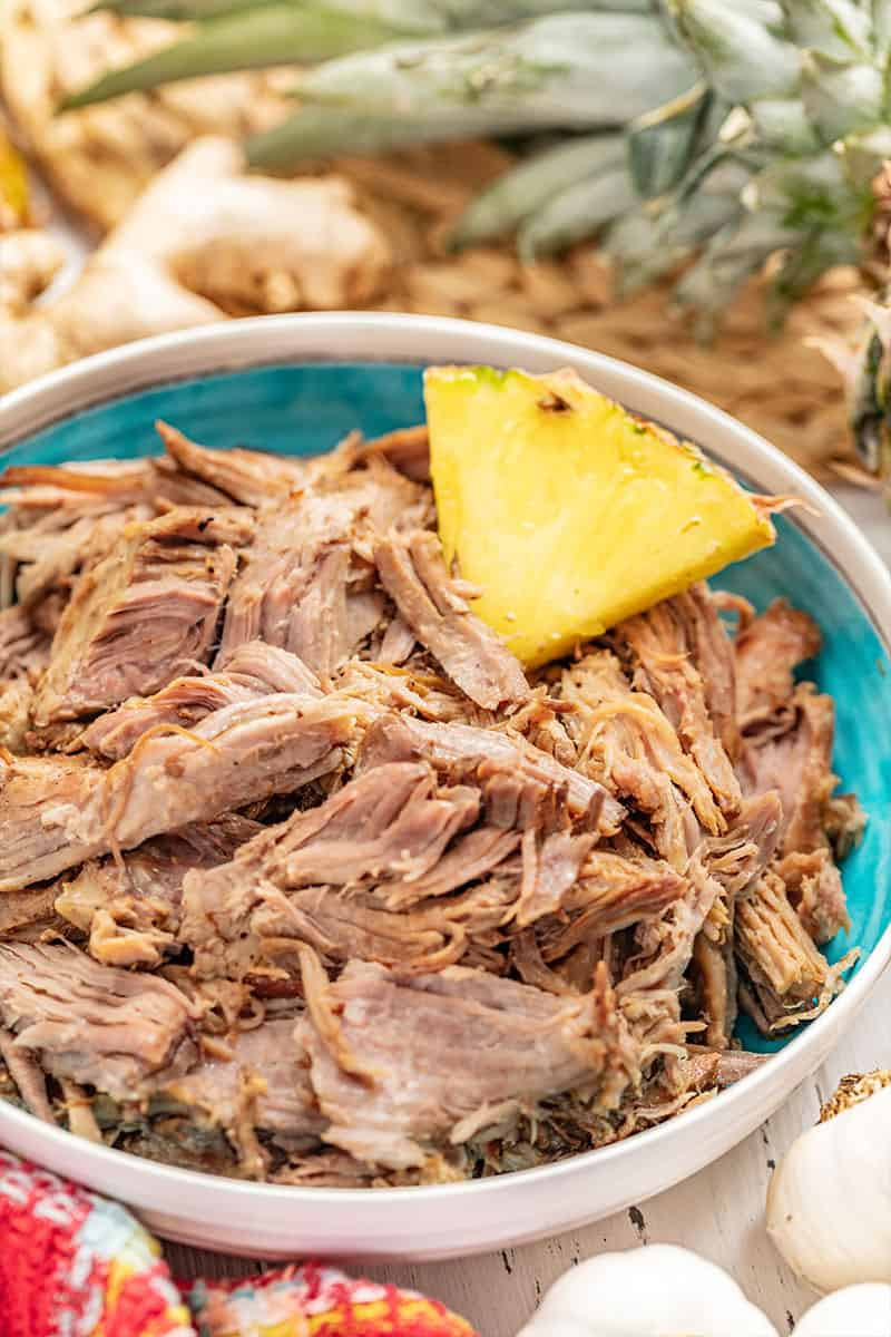 Kalua pork and pineapple in a bowl.