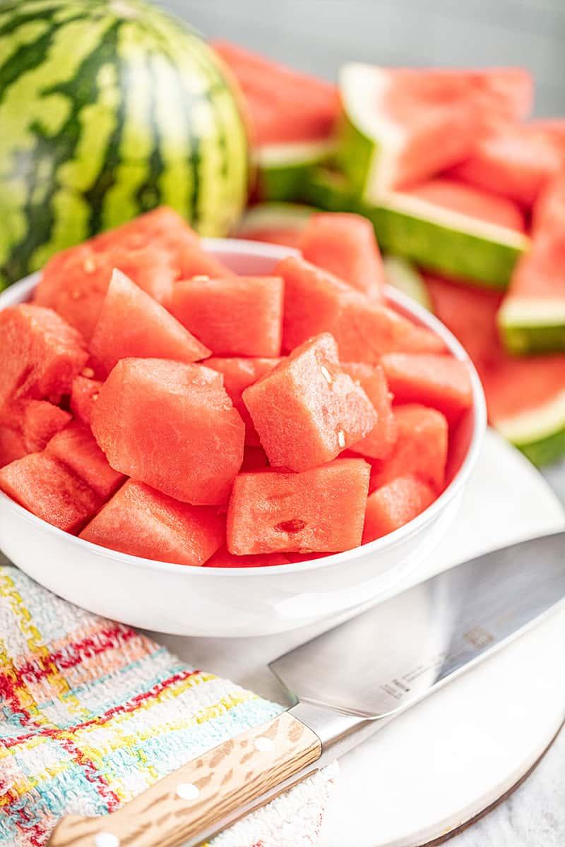 Watermelon cubes.