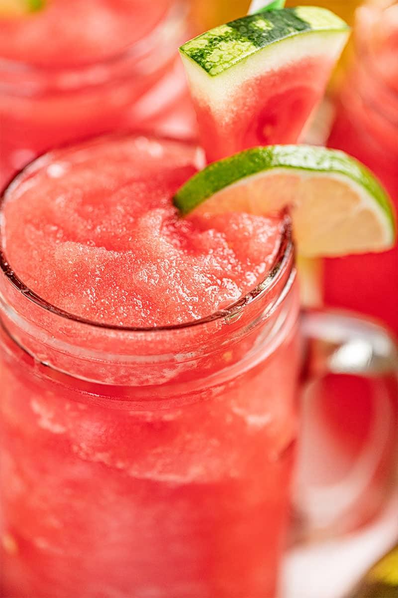 Close up view of a watermelon slushy.