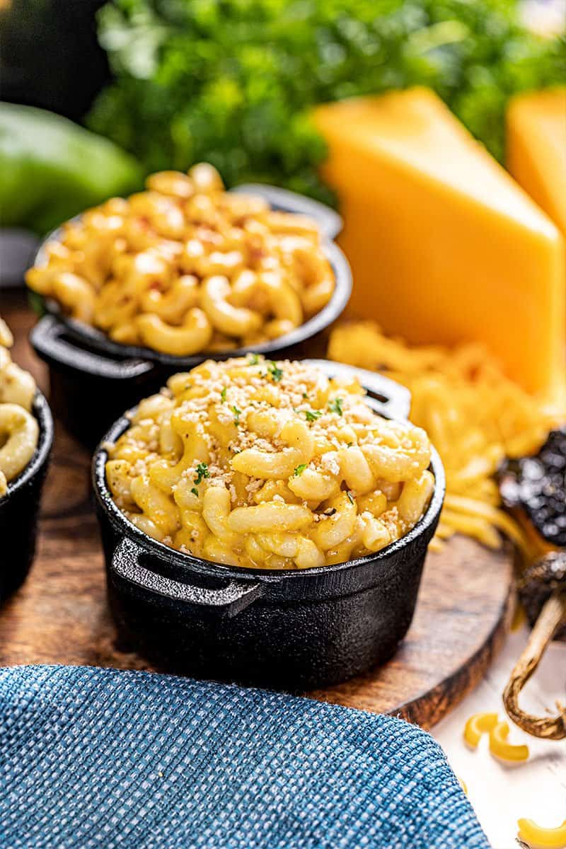 Instant pot Mac and cheese in a small baking dish.