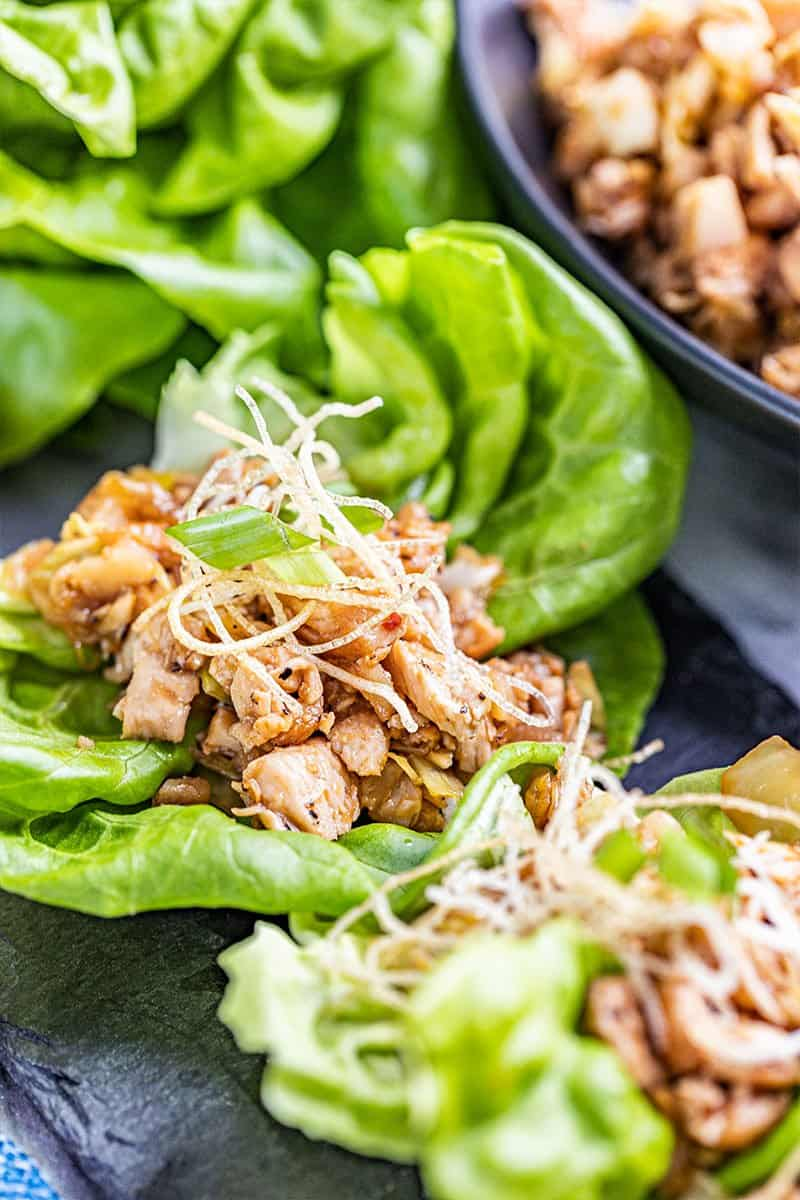 Close up view of chicken lettuce wraps.