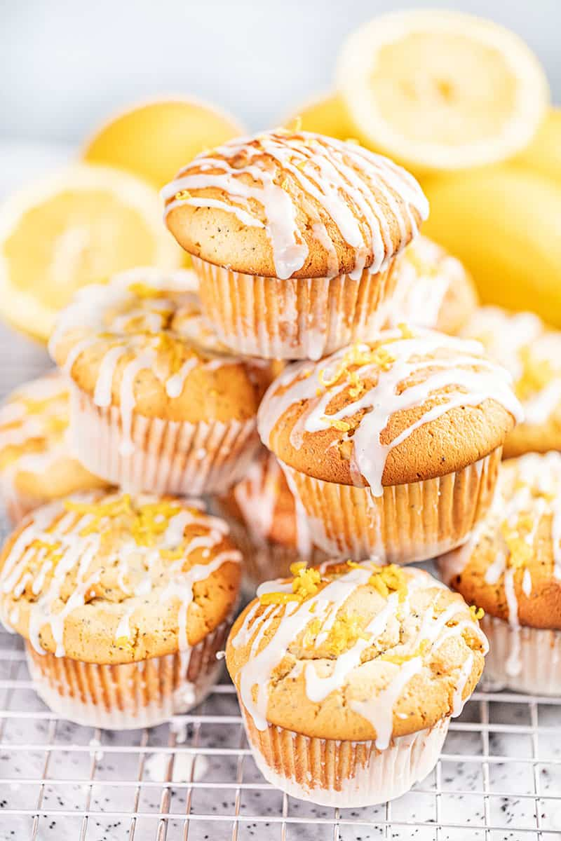 A stack of lemon poppyseed muffins.