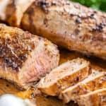 Juicy pork tenderloin cut into slices.