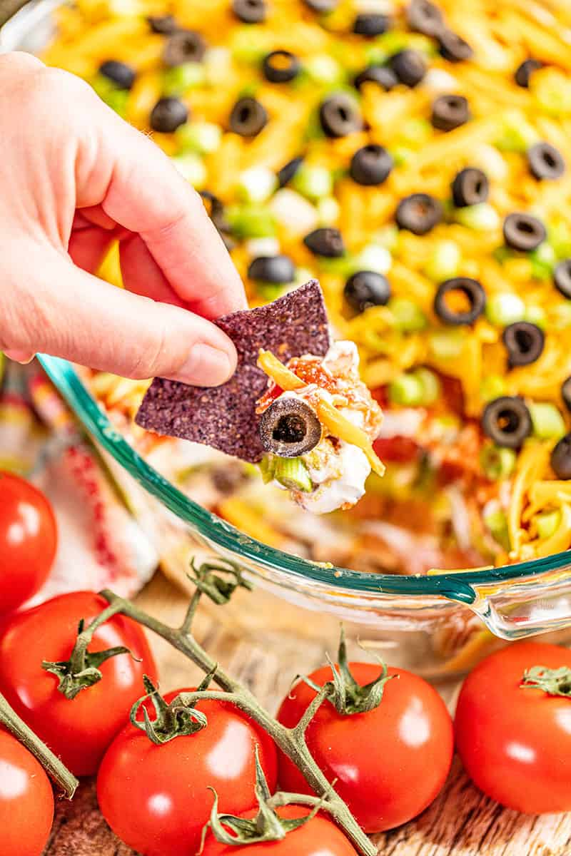A hand holding up a tortilla chip dipped in 7 layer dip.