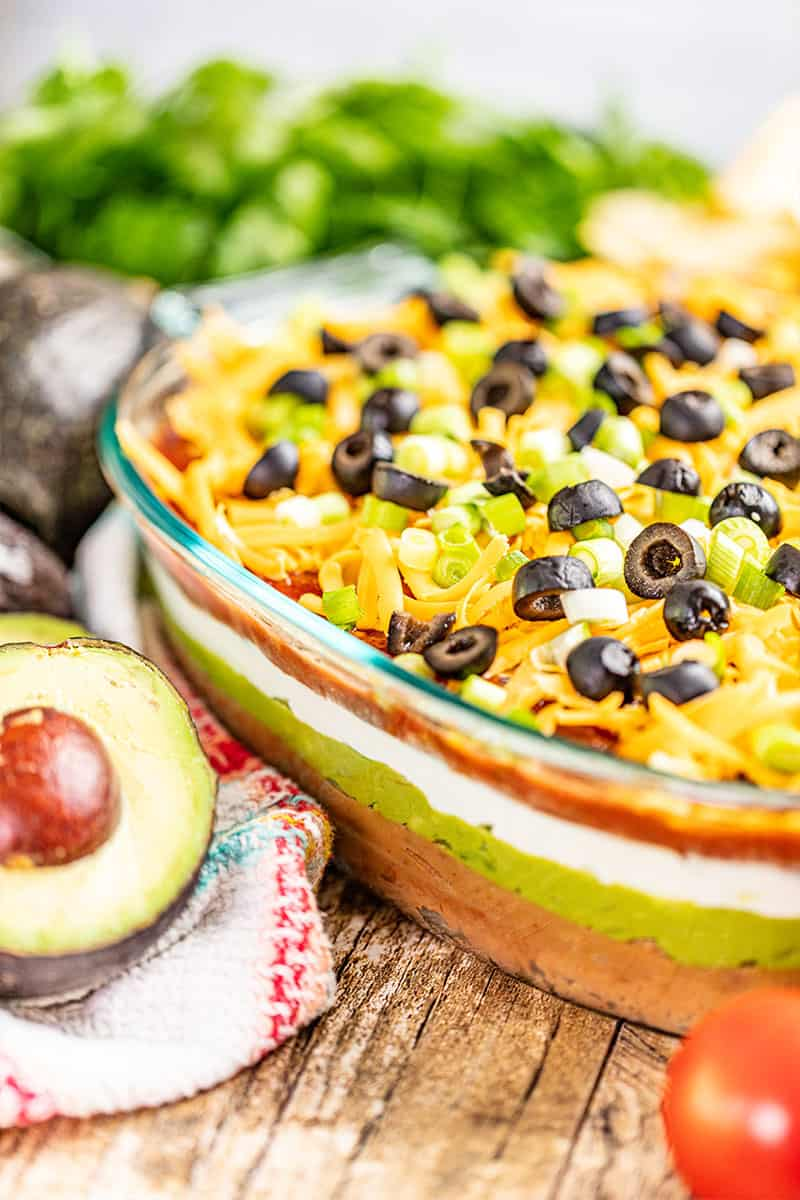 7 layer dip in a glass baking dish.
