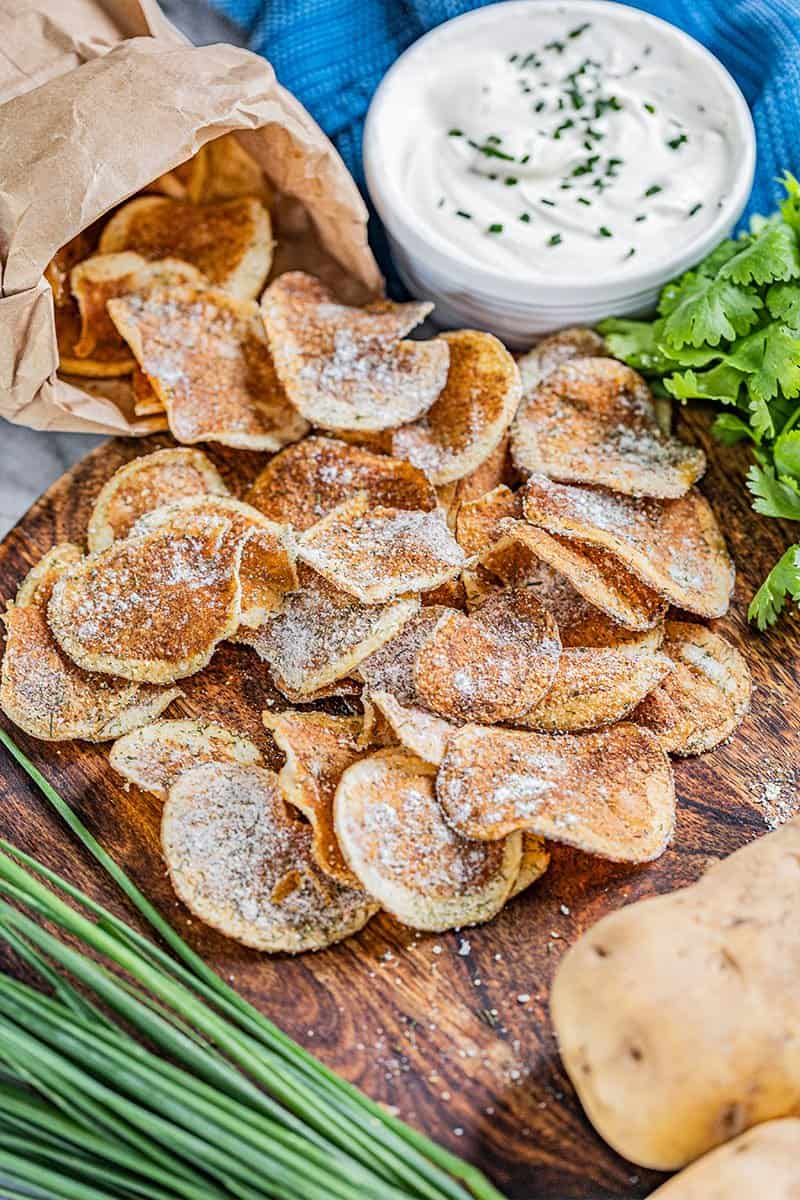 Homemade kettle chips next to French onion dip.