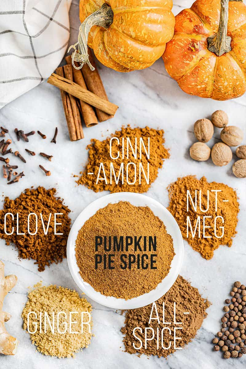 A bowl of pumpkin pie spice surrounded by the spices that make it.