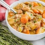 A bowl of old fashioned chicken stew.