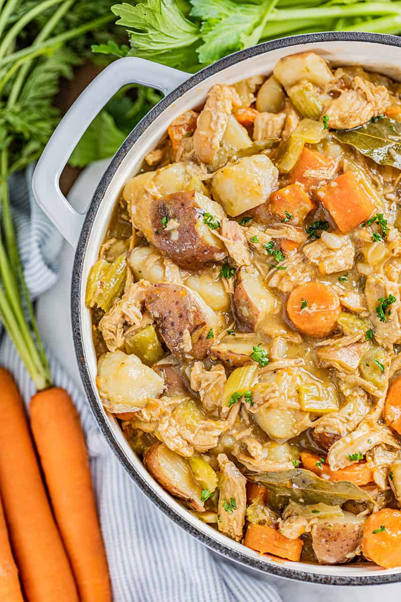 Close up view of old fashioned chicken stew in a pot.